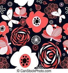 mönster, lysande, blomningen, seamless