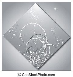 mönster, lysande, stjärnor, bakgrund, silver