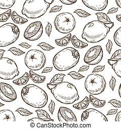 mönster, mandariner, kiwi, eller, seamless, lindar, lemons