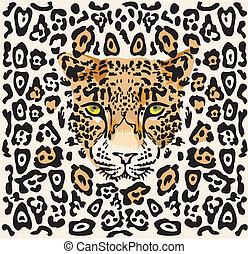 mönster, med, a, munkorg, av, a, leopard