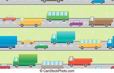 mönster, med, färg, cars.