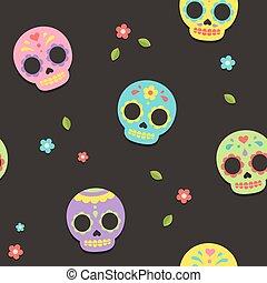 mönster, mexikanare, kranium, socker