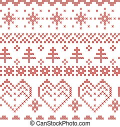 mönster, nordisk, kors, mönster, inspirerat, seamless, jul