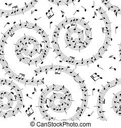 mönster, noteringen, -, seamless, spiral, vektor, musik, bakgrund