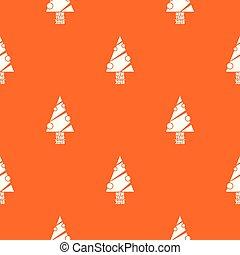 mönster, nymodig, träd, vektor, apelsin, jul