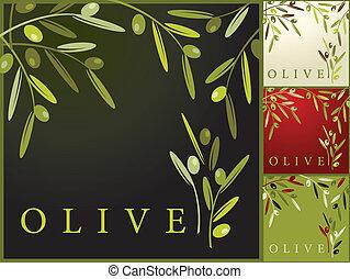 mönster, oliv, retro
