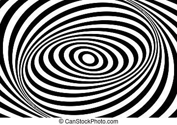 mönster, op, illusion., design., virvla runt, texture., rörelse, fodrar, oval, konst