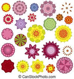 mönster, orientalisk, runda