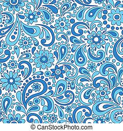 mönster, paisley, blomningen, seamless