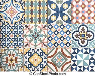 mönster, röra, smyckad tegelpanna, design, färgrik