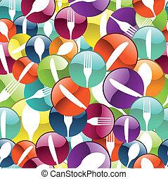mönster, restaurang, bakgrund, ikon