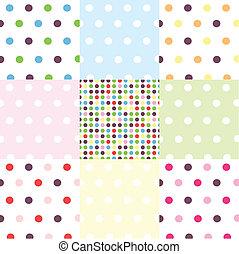 mönster, sätta, polka, seamless, punkt