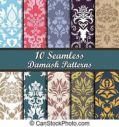 mönster, sätta, seamless, damast