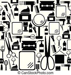 mönster, salon, icon., bakgrund, seamless