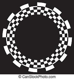 mönster, schackbräde, spiral, ram