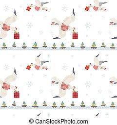 mönster, seagulls, seamless, gåvor, quirky, jul