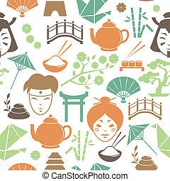 mönster, seamless, bakgrund, japansk