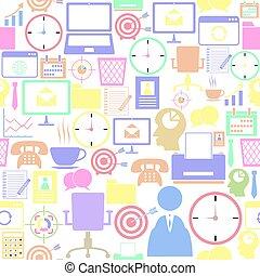 mönster, seamless, bakgrund, kontor, icon.