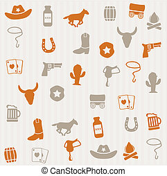 mönster, seamless, cowboy