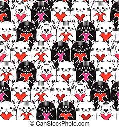 mönster, seamless, katter, vektor, räcker, hjärtan