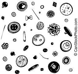 mönster, seamless, knäppas, stift, bläck teckna