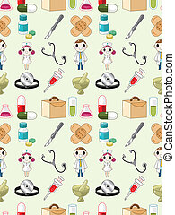mönster, seamless, läkare