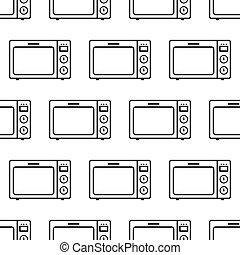 mönster, seamless, mikrovåg, ikon
