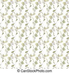 mönster, seamless, oavgjord, ekologi, vektor, bakgrund., hand, leaves.