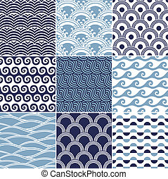 mönster, seamless, ocean vinka