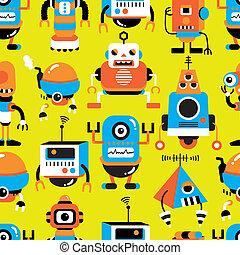 mönster, seamless, robot