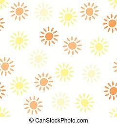 mönster, seamless, symboler, vektor, bakgrund, sol