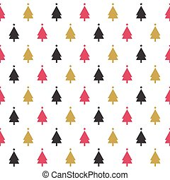 mönster, seamless, träd, jul