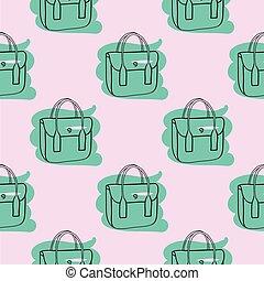 mönster, seamless, väska, hand, oavgjord, rosa