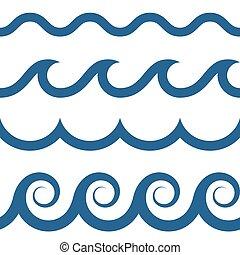 mönster, seamless, vågor
