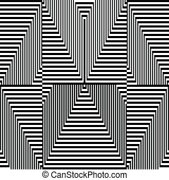 mönster, -, sicksack, optisk, svart, vit, illusion
