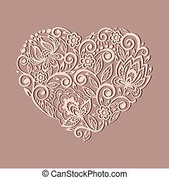 mönster, silhuett, hjärta, blommig, dekorerat, gammal, ...