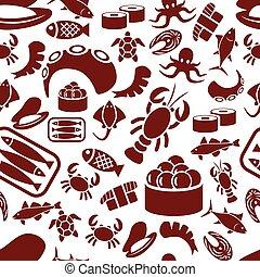 mönster, skaldjur, seamless