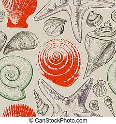 mönster, skalen, seamless, hav, retro