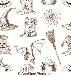mönster, skiss, halloween, seamless