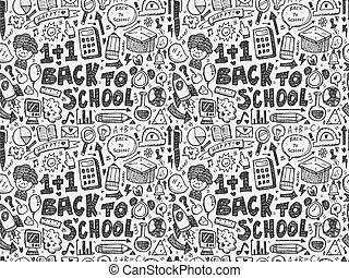 mönster, skola, seamless