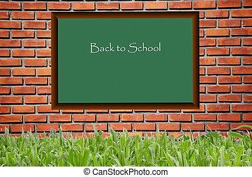 mönster, skola, svart, bord, brickwall