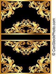 mönster, svart fond, guld