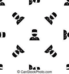 mönster, svart, maskera, seamless, läkare