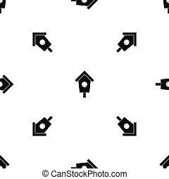 mönster, svart, seamless, birdhouse