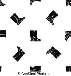 mönster, svart, seamless, stövel