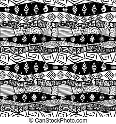 mönster, svart, seamless, stam, vit