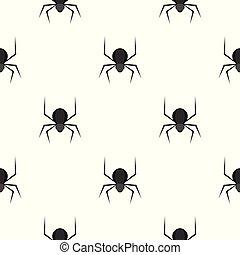 mönster, svart, spindel, seamless