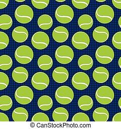 mönster, tennis, seamless, vektor, balls., sport