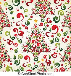 mönster, träd, jul