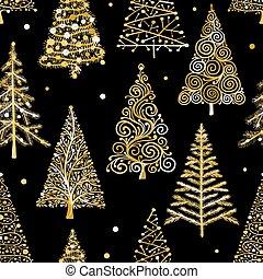 mönster, träd, seamless, jul, design, din